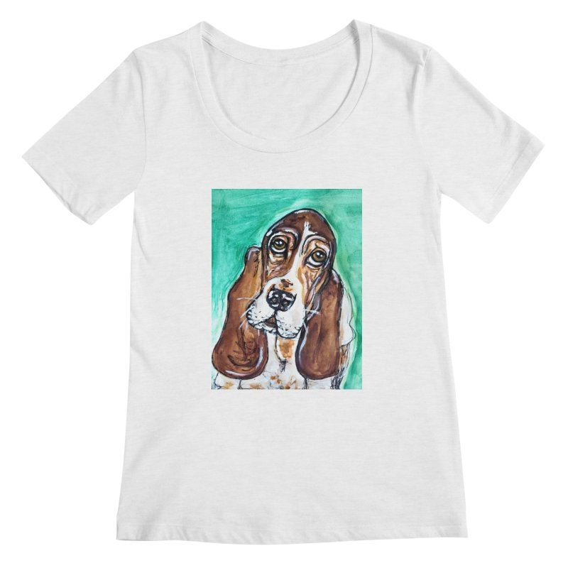 Basset Hound Women's Regular Scoop Neck by AlmaT's Artist Shop