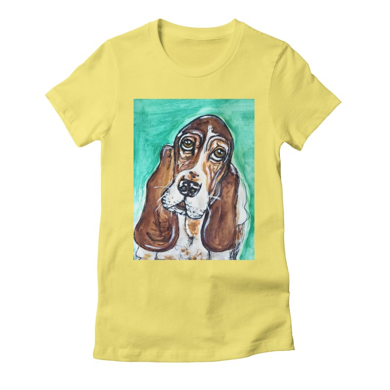 Basset Hound Women's Fitted T-Shirt by AlmaT's Artist Shop