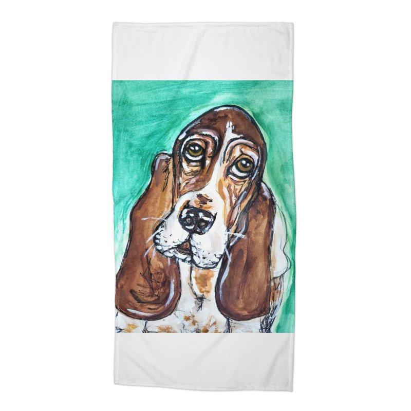 Basset Hound Accessories Beach Towel by AlmaT's Artist Shop