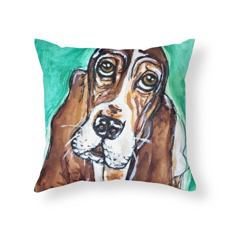 Basset Hound Home Throw Pillow by AlmaT's Artist Shop