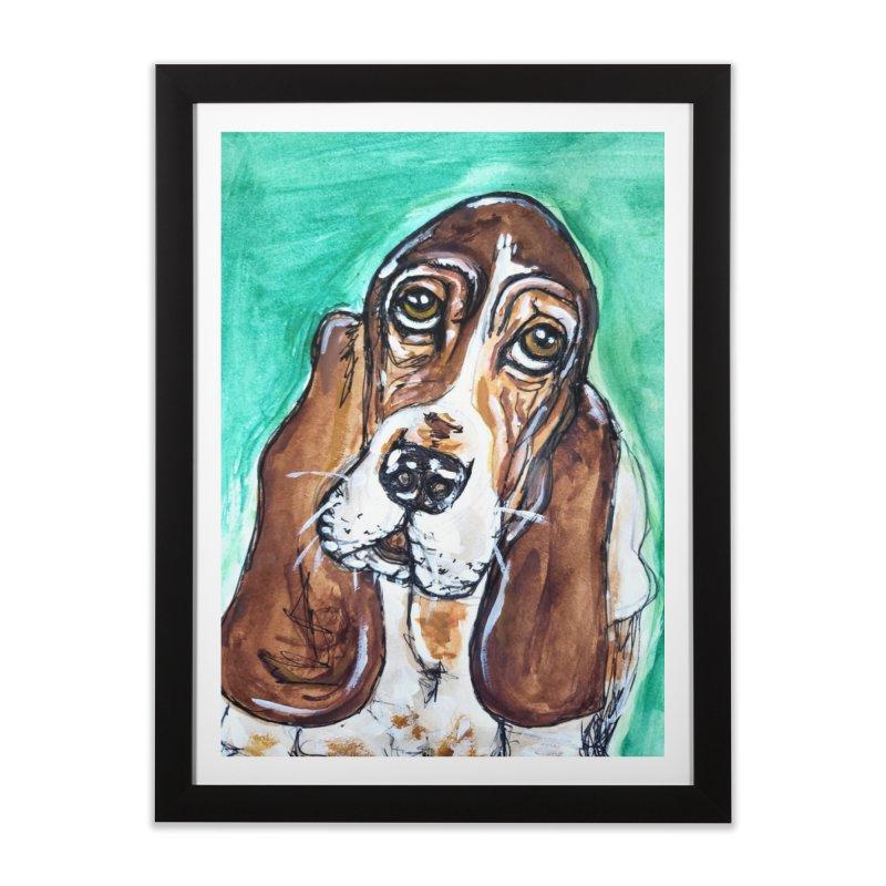 Basset Hound Home Framed Fine Art Print by AlmaT's Artist Shop
