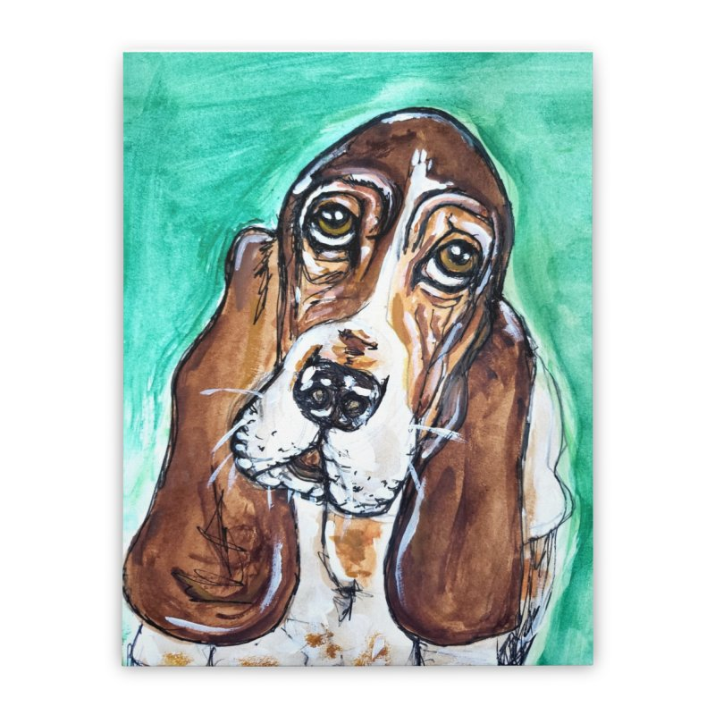 Basset Hound Home Stretched Canvas by AlmaT's Artist Shop