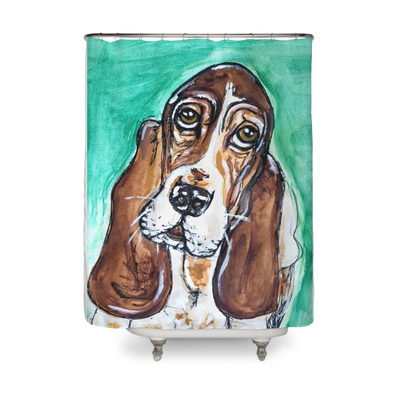 Basset Hound Home Shower Curtain by AlmaT's Artist Shop