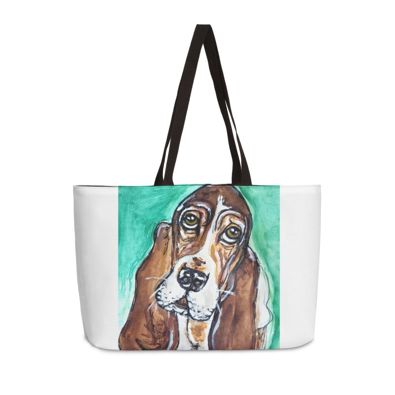 Basset Hound Accessories Weekender Bag Bag by AlmaT's Artist Shop