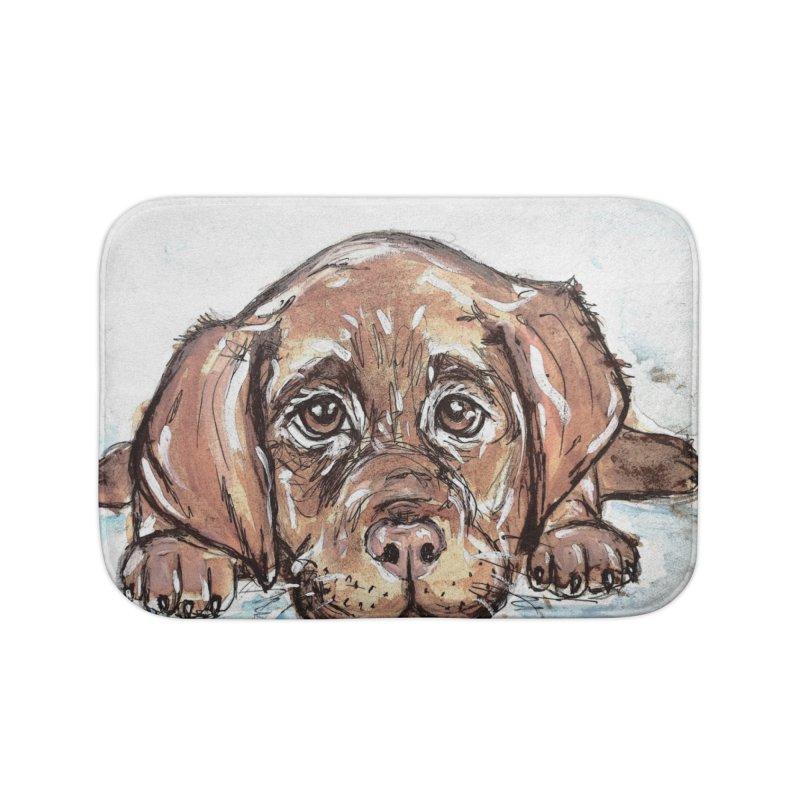Chocolate Lab Puppy Home Bath Mat by AlmaT's Artist Shop