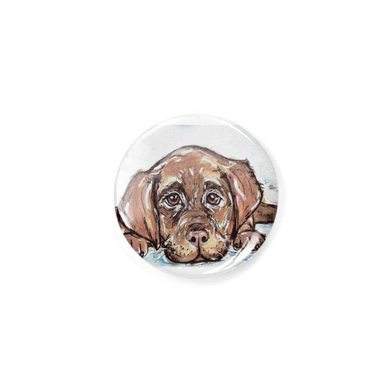 Chocolate Lab Puppy Accessories Button by AlmaT's Artist Shop