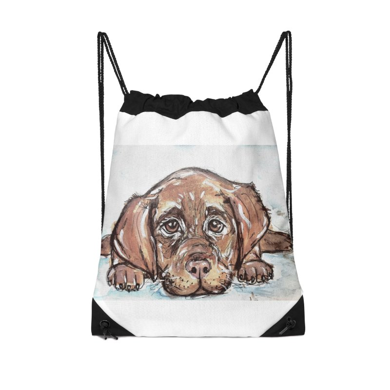 Chocolate Lab Puppy Accessories Drawstring Bag Bag by AlmaT's Artist Shop
