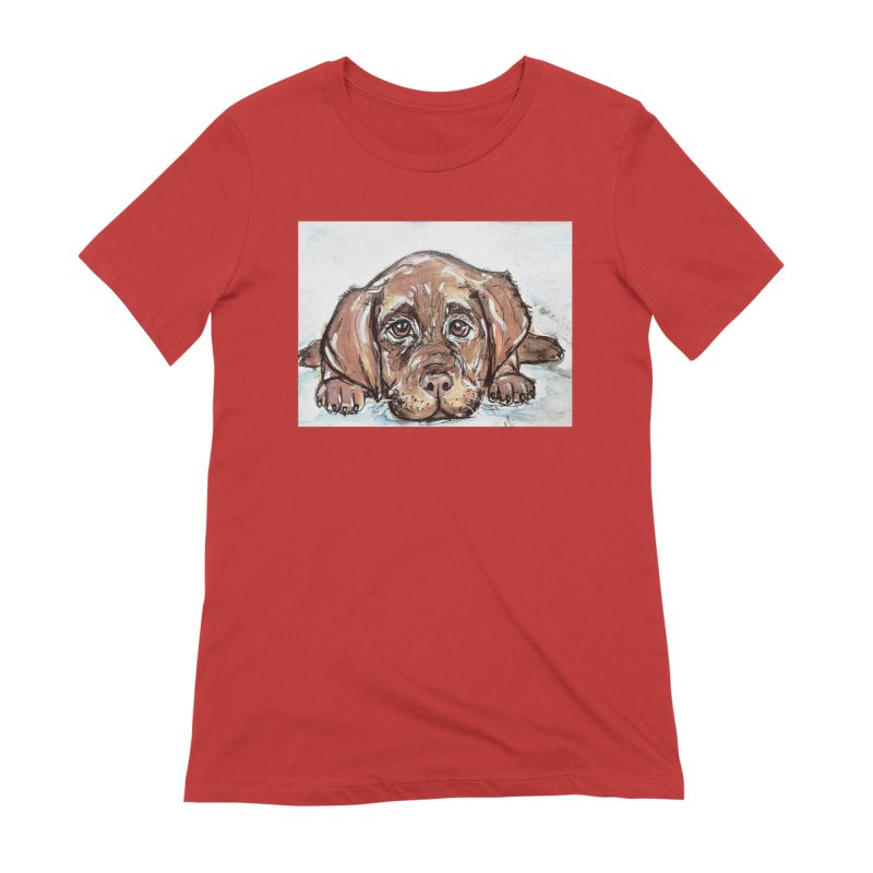 Chocolate Lab Puppy Women's Extra Soft T-Shirt by AlmaT's Artist Shop