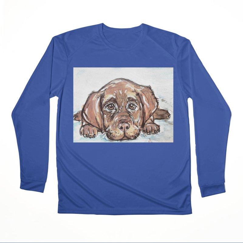 Chocolate Lab Puppy Men's Performance Longsleeve T-Shirt by AlmaT's Artist Shop