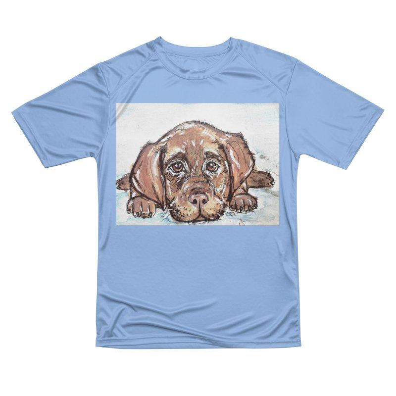 Chocolate Lab Puppy Women's Performance Unisex T-Shirt by AlmaT's Artist Shop