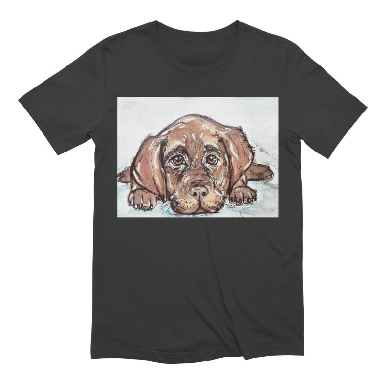 Chocolate Lab Puppy Men's Extra Soft T-Shirt by AlmaT's Artist Shop