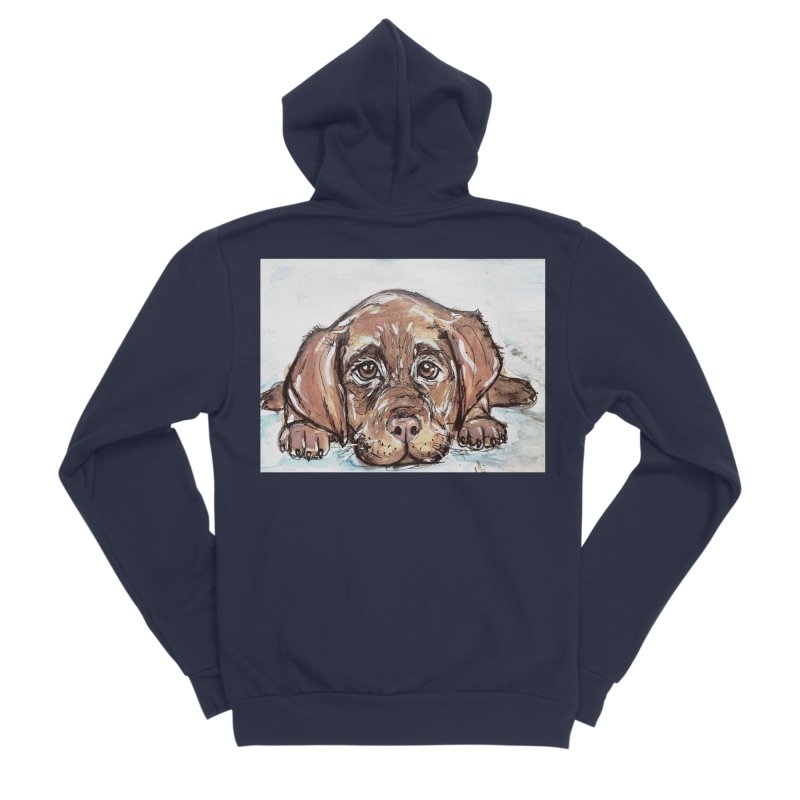 Chocolate Lab Puppy Women's Sponge Fleece Zip-Up Hoody by AlmaT's Artist Shop