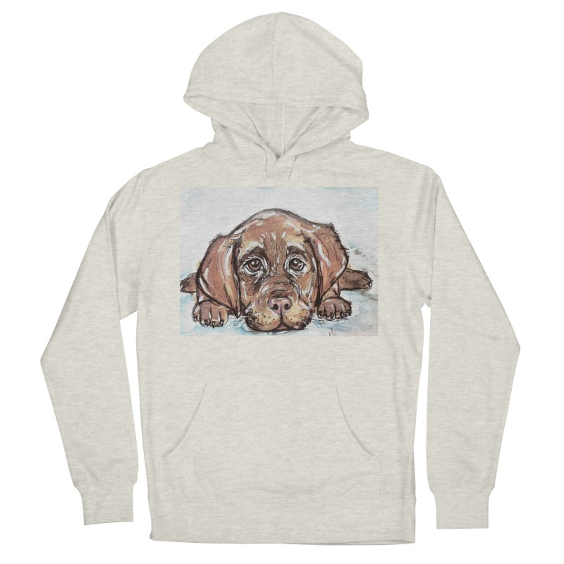 Chocolate Lab Puppy Women's French Terry Pullover Hoody by AlmaT's Artist Shop