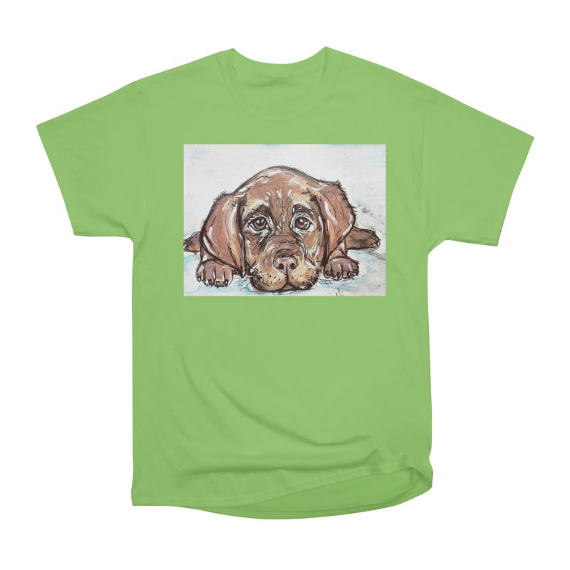 Chocolate Lab Puppy Women's Heavyweight Unisex T-Shirt by AlmaT's Artist Shop