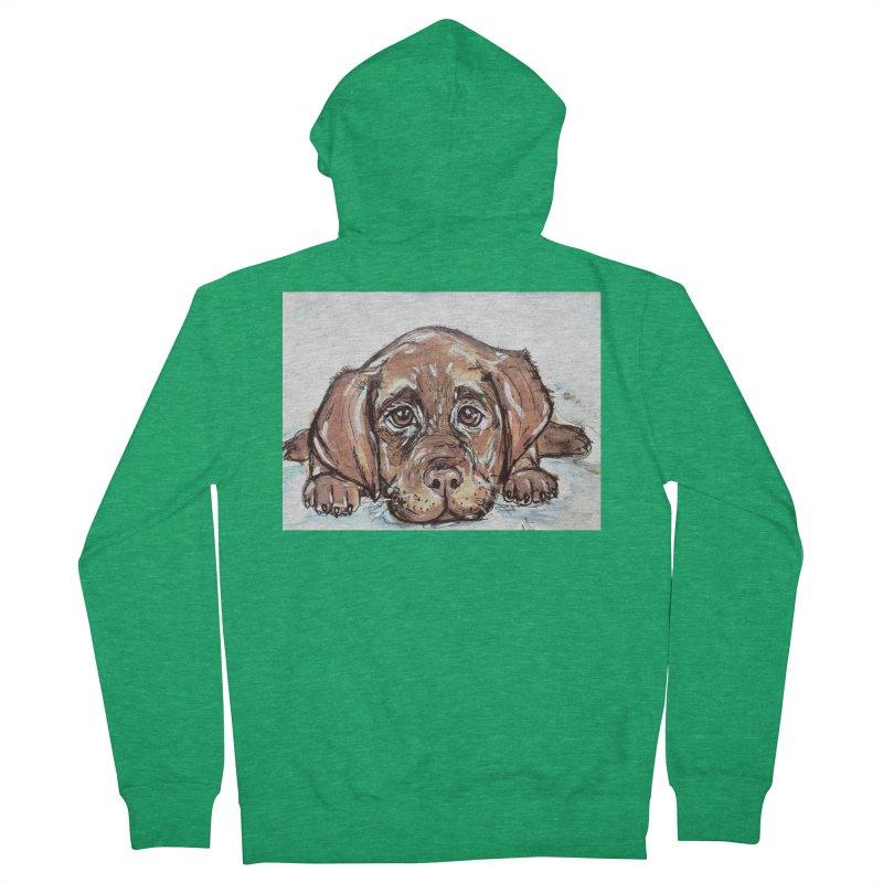 Chocolate Lab Puppy Men's Zip-Up Hoody by AlmaT's Artist Shop
