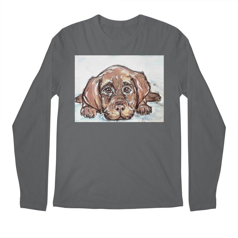 Chocolate Lab Puppy Men's Longsleeve T-Shirt by AlmaT's Artist Shop