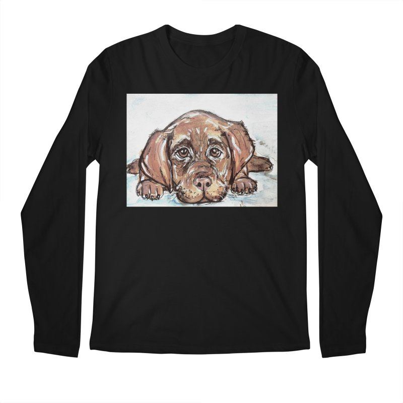 Chocolate Lab Puppy Men's Regular Longsleeve T-Shirt by AlmaT's Artist Shop