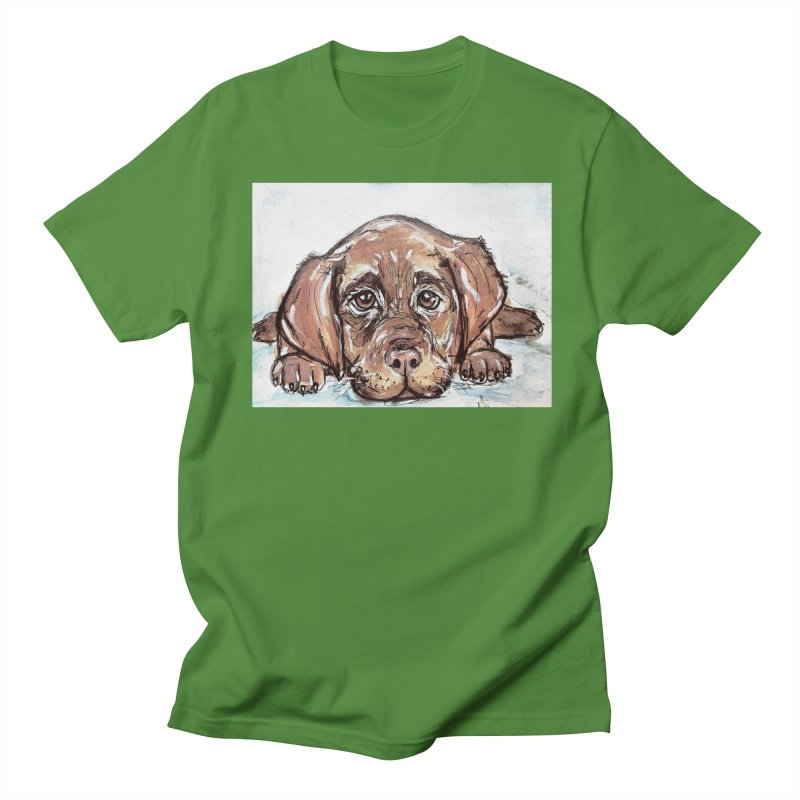 Chocolate Lab Puppy Men's Regular T-Shirt by AlmaT's Artist Shop
