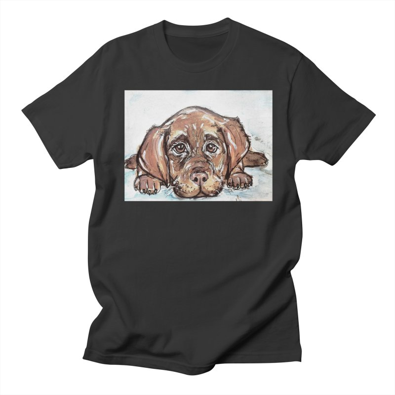 Chocolate Lab Puppy Women's Regular Unisex T-Shirt by AlmaT's Artist Shop