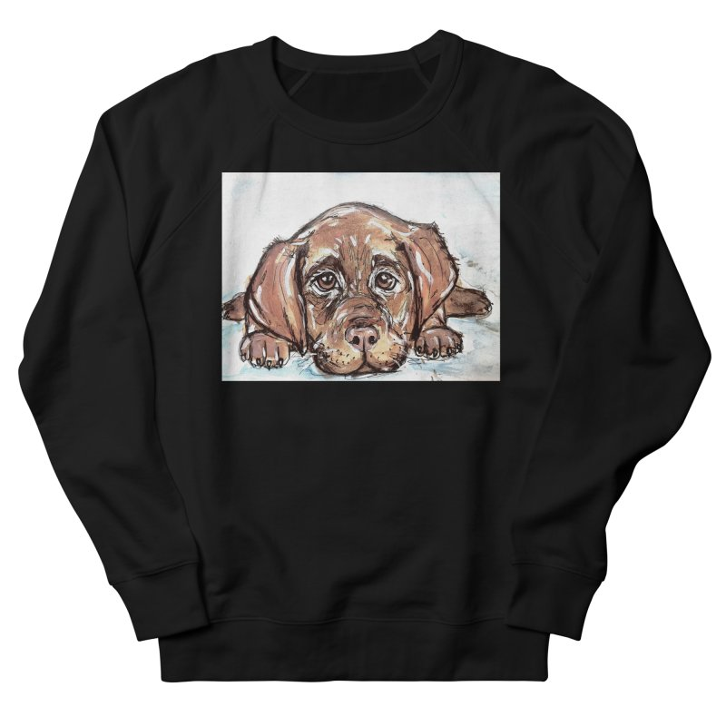 Chocolate Lab Puppy Women's French Terry Sweatshirt by AlmaT's Artist Shop
