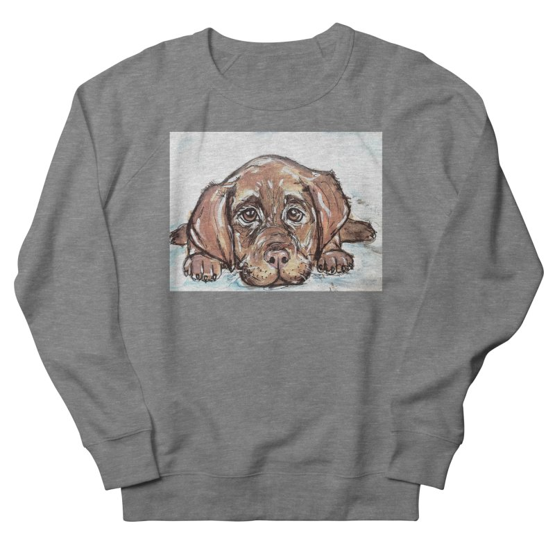 Chocolate Lab Puppy Men's French Terry Sweatshirt by AlmaT's Artist Shop