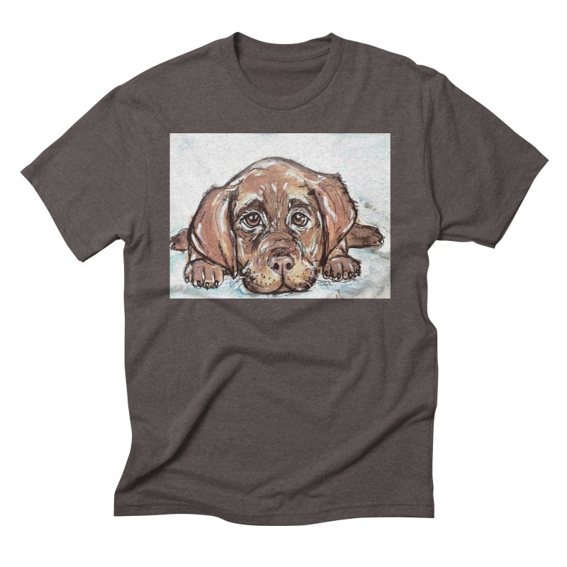Chocolate Lab Puppy Men's Triblend T-Shirt by AlmaT's Artist Shop