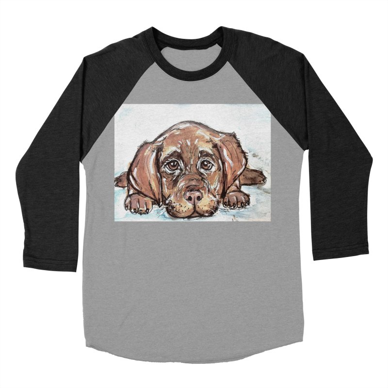 Chocolate Lab Puppy Women's Baseball Triblend Longsleeve T-Shirt by AlmaT's Artist Shop