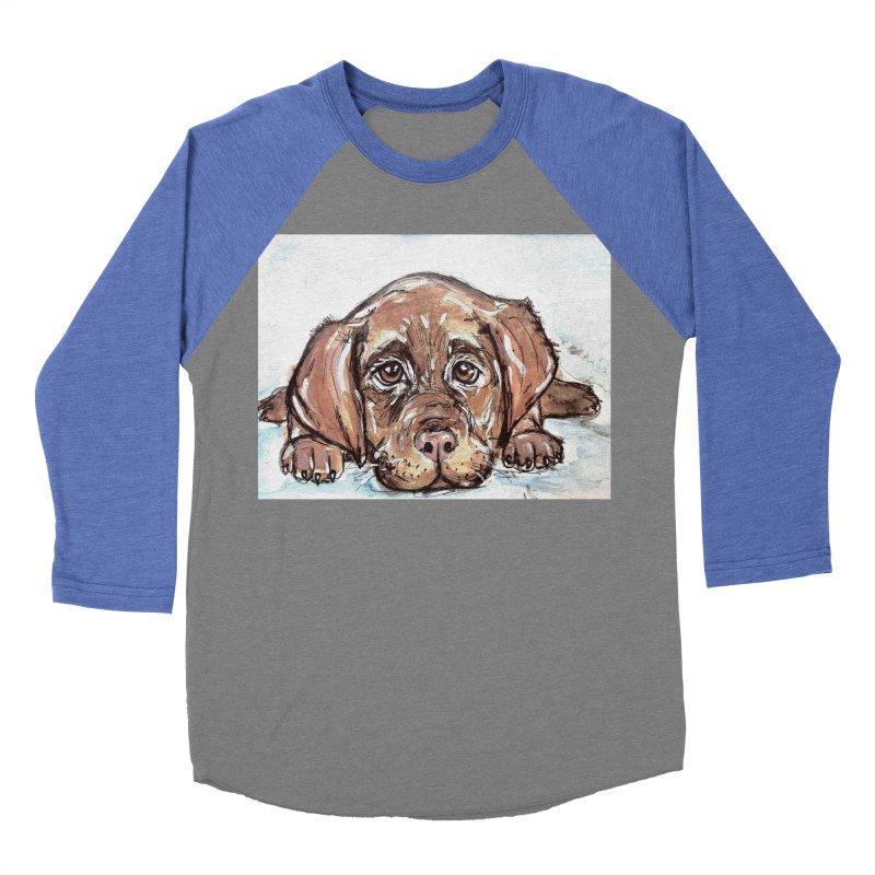 Chocolate Lab Puppy Men's Baseball Triblend Longsleeve T-Shirt by AlmaT's Artist Shop