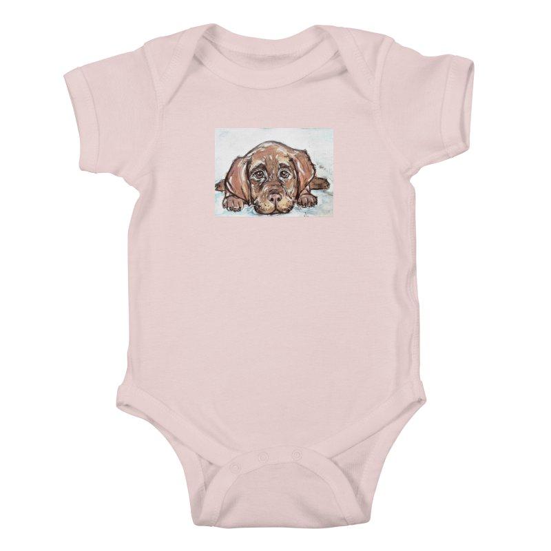 Chocolate Lab Puppy Kids Baby Bodysuit by AlmaT's Artist Shop