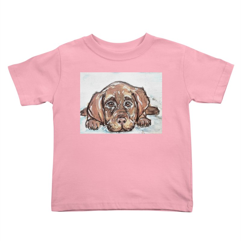 Chocolate Lab Puppy Kids Toddler T-Shirt by AlmaT's Artist Shop