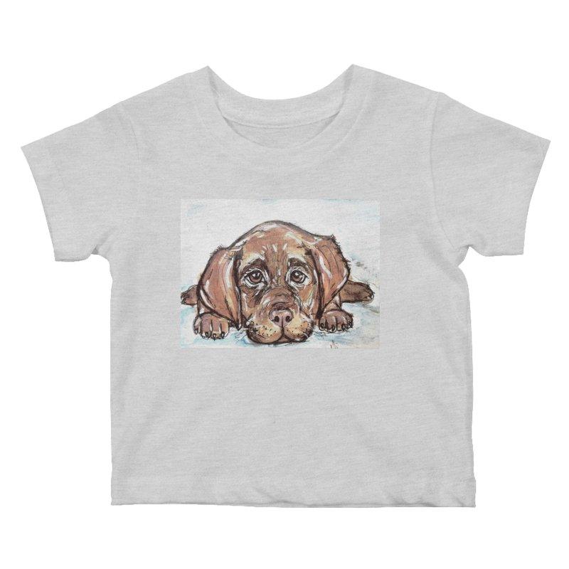 Chocolate Lab Puppy Kids Baby T-Shirt by AlmaT's Artist Shop