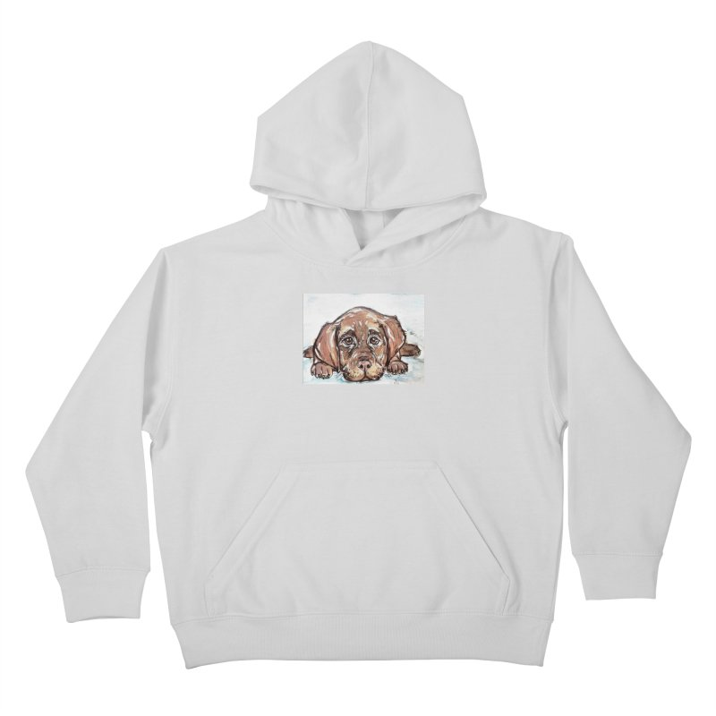 Chocolate Lab Puppy Kids Pullover Hoody by AlmaT's Artist Shop