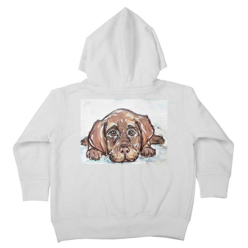 Chocolate Lab Puppy Kids Toddler Zip-Up Hoody by AlmaT's Artist Shop