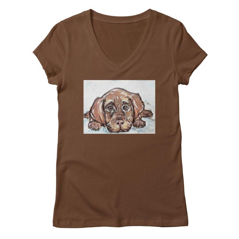 Chocolate Lab Puppy Women's Regular V-Neck by AlmaT's Artist Shop