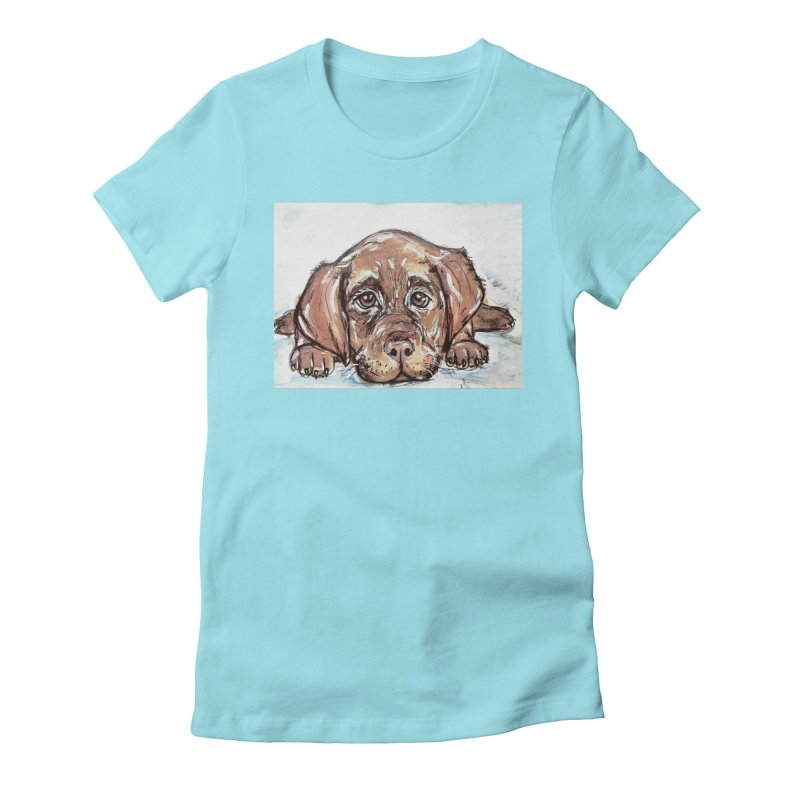 Chocolate Lab Puppy Women's Fitted T-Shirt by AlmaT's Artist Shop