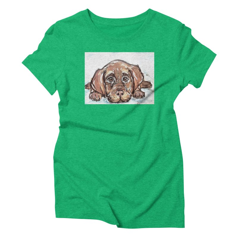 Chocolate Lab Puppy Women's Triblend T-Shirt by AlmaT's Artist Shop