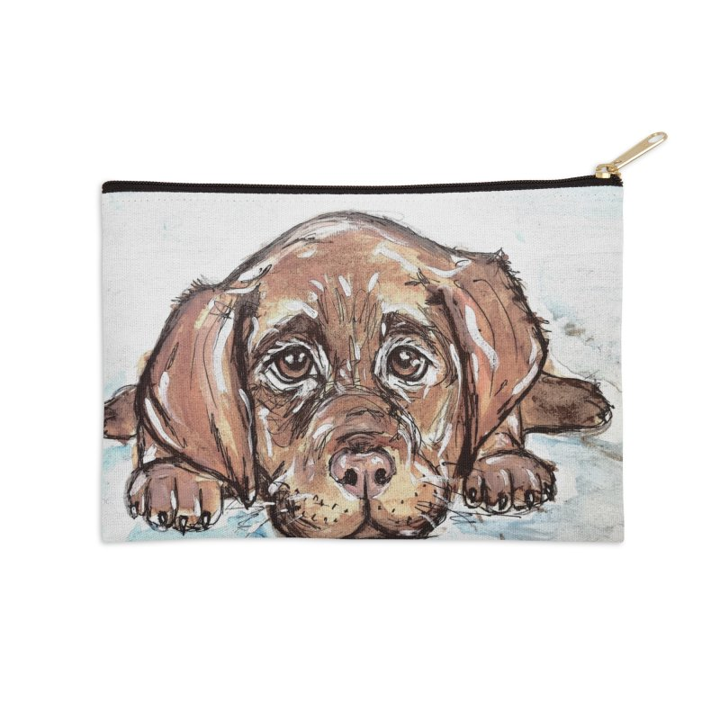 Chocolate Lab Puppy Accessories Zip Pouch by AlmaT's Artist Shop