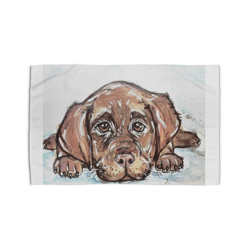Chocolate Lab Puppy Home Rug by AlmaT's Artist Shop