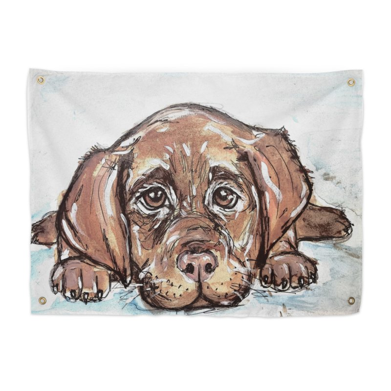 Chocolate Lab Puppy Home Tapestry by AlmaT's Artist Shop