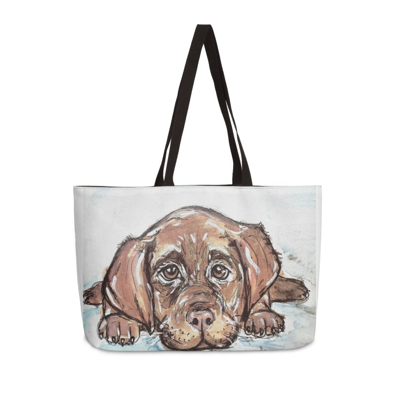 Chocolate Lab Puppy Accessories Weekender Bag Bag by AlmaT's Artist Shop