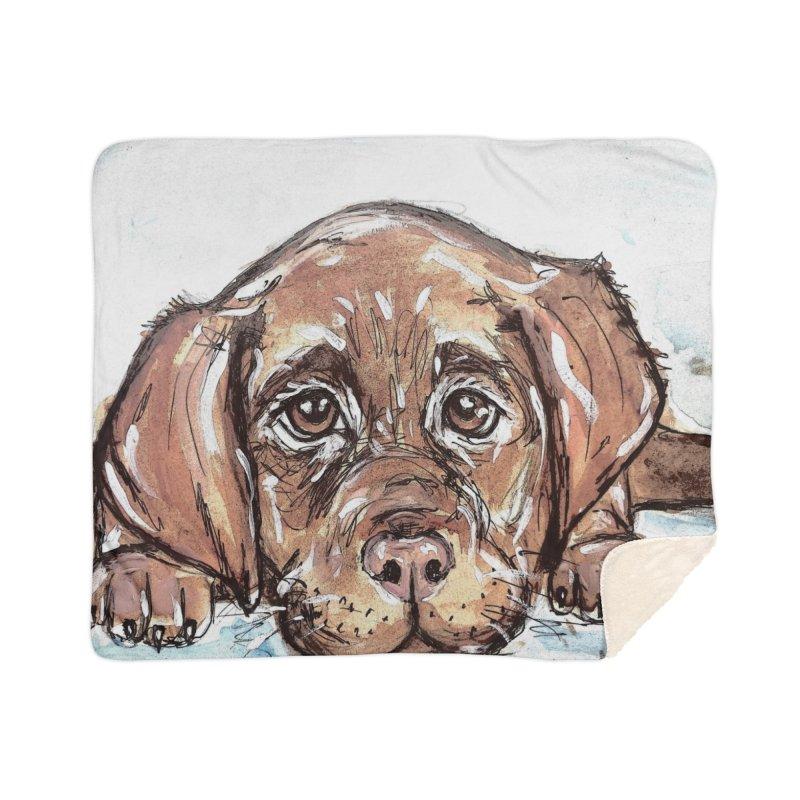 Chocolate Lab Puppy Home Sherpa Blanket Blanket by AlmaT's Artist Shop