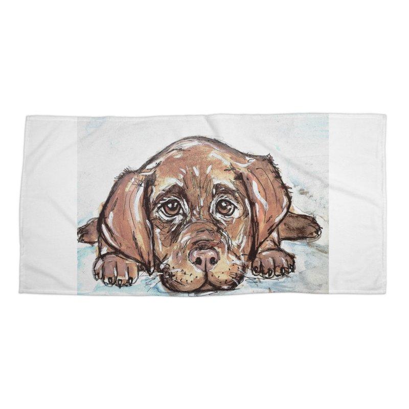 Chocolate Lab Puppy Accessories Beach Towel by AlmaT's Artist Shop