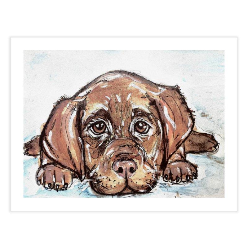 Chocolate Lab Puppy Home Fine Art Print by AlmaT's Artist Shop
