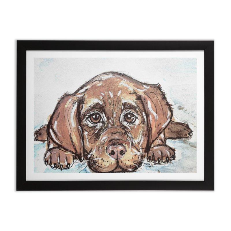 Chocolate Lab Puppy Home Framed Fine Art Print by AlmaT's Artist Shop