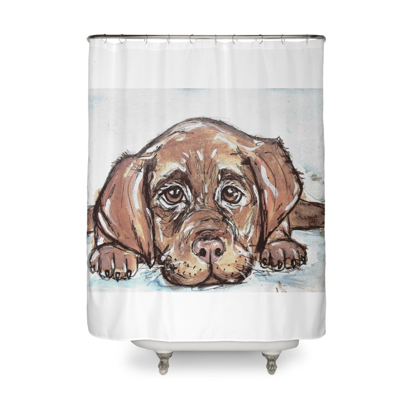 Chocolate Lab Puppy Home Shower Curtain by AlmaT's Artist Shop