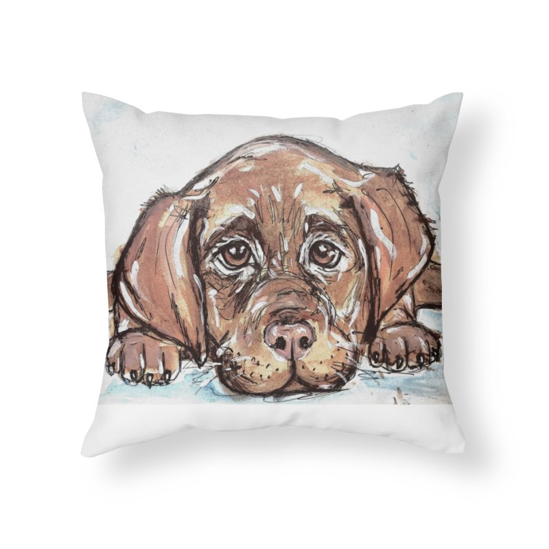 Chocolate Lab Puppy Home Throw Pillow by AlmaT's Artist Shop