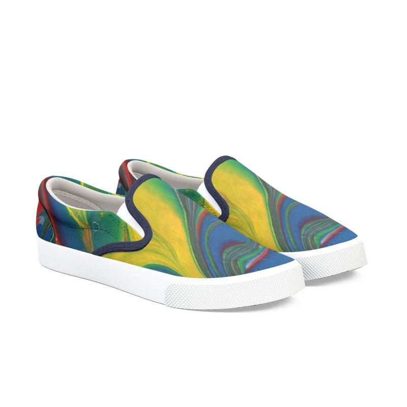 Yellow Splash Men's Slip-On Shoes by AlmaT's Artist Shop