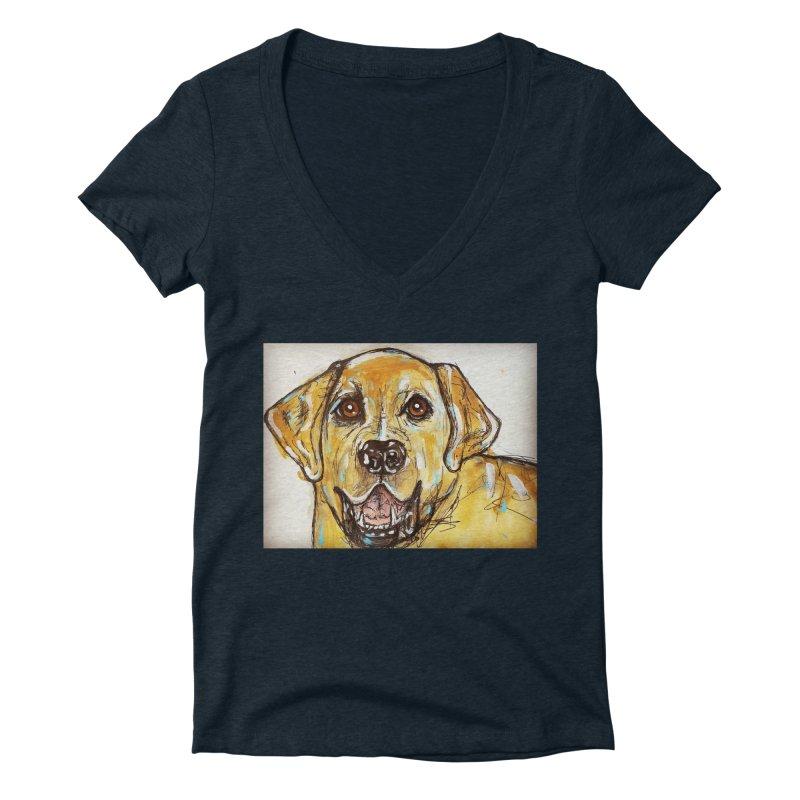 Labrador Retriever Women's Deep V-Neck V-Neck by AlmaT's Artist Shop