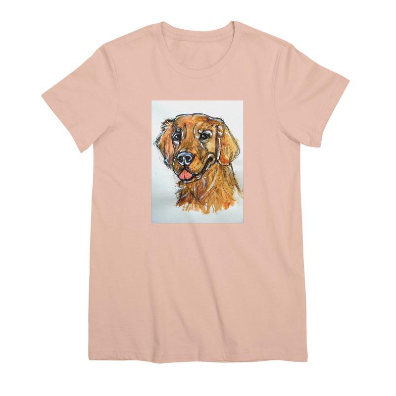 Golden Retriever Women's Premium T-Shirt by AlmaT's Artist Shop
