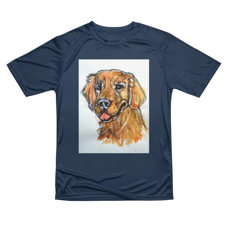Golden Retriever Women's Performance Unisex T-Shirt by AlmaT's Artist Shop